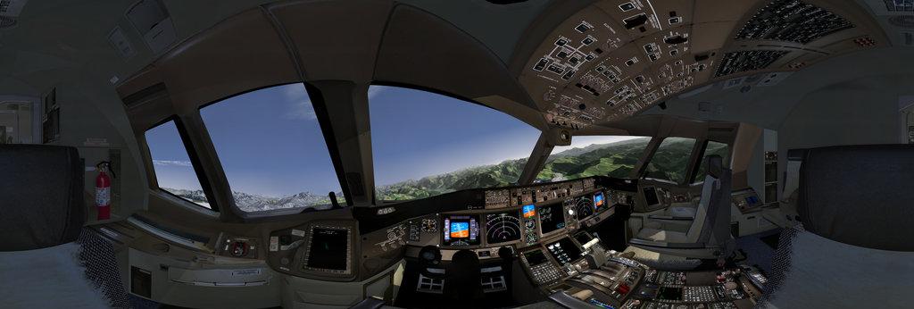 The Boeing 777-300ER cockpit in flightgear flight simulator