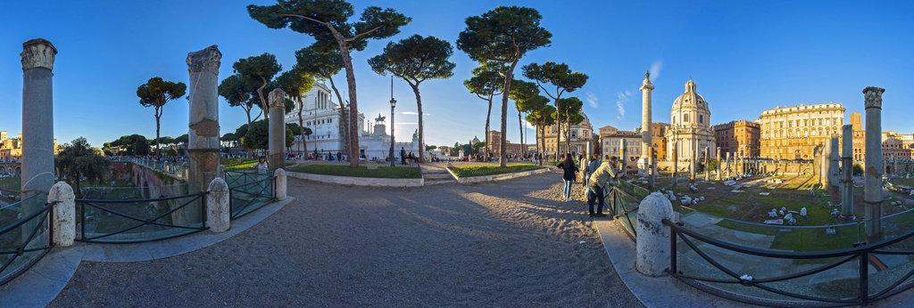 Rome. Forum of Trajan. Basilica Ulpia. 2 360 Panorama
